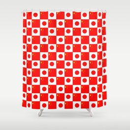 Mix of flag : China and Japan Shower Curtain