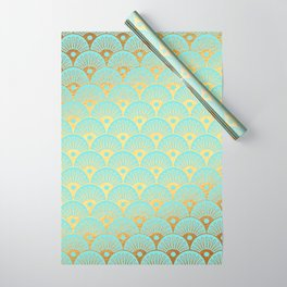 Art Deco Mermaid Scales Pattern on aqua turquoise with Gold foil effect Wrapping Paper