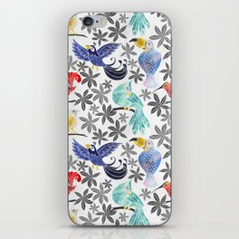 Rainforest Birds in Watercolor iPhone Skin
