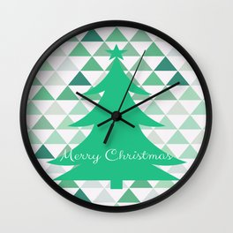 Merry Christmas Tree Pattern Wall Clock