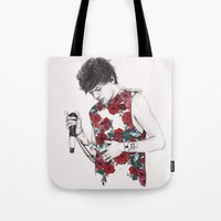 coconutwishes Tote Bags featuring Floral Louis by Coconut Wishes