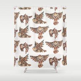 Owls in Flight – Brown Palette Shower Curtain