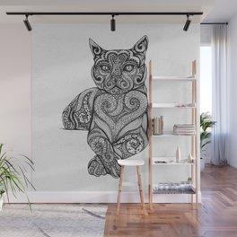 Zentangle Cat Wall Mural