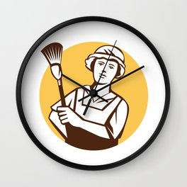Maid Cleaner Duster Circle Retro Wall Clock