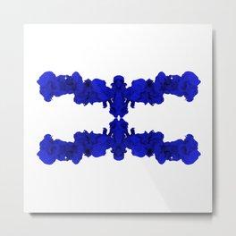 Blue Ink Drop in Water Metal Print