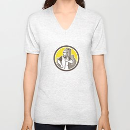 Window Cleaner Worker Holding Squeegee Circle Unisex V-Neck