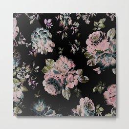 Dark Floral Pink Metal Print