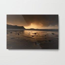 Storm clouds at Worms Head Metal Print