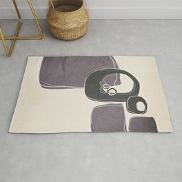 Retro Abstract Design in Charcoal Grey and Aubergine Rug