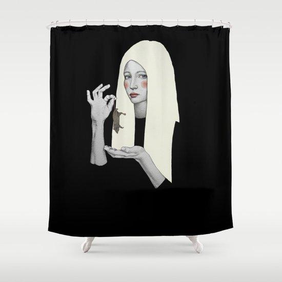 Vana in black Shower Curtain