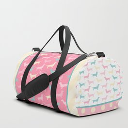 Pastel Dachshund Pattern Duffle Bag