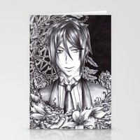 black butler Stationery Cards featuring Black Butler - Sebastian Michaelis by Furiarossa