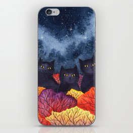 Three Black Cats in Autumn Watercolor iPhone Skin