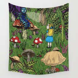 Alice and the caterpillar Wall Tapestry