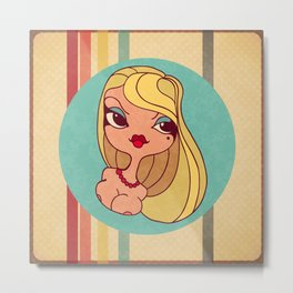 Retro woman comics style Metal Print