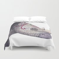 rhino Duvet Covers featuring Rhino by Raffles Bizarre