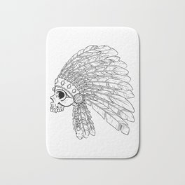 American Indian skull Black and White Art Bath Mat