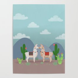 Cute Llamas Illustration Poster