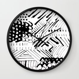 Black and White Ink Abstract Mark Making Pattern Wall Clock
