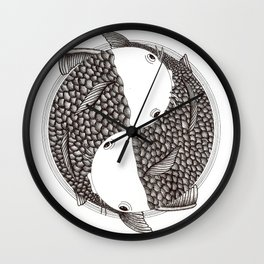 Pisces - Fish Koi - Japanese Tattoo Style (black and white) Wall Clock