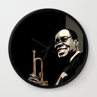 louis armstrong Wall Clocks featuring Louis Armstrong by f_e_l_i_x_x