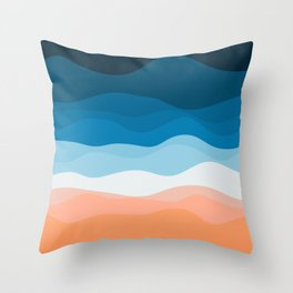 Lone Surfer On The Beach Throw Pillow