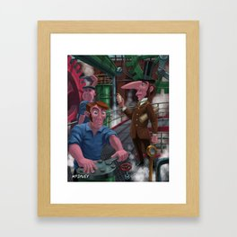 victorian inventor with machine and engineers Framed Art Print