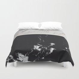 White Glitter Marble & Black Marble #1 #decor #art #society6 Duvet Cover