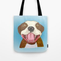 pit bull Tote Bags featuring Pit Bull Pride by Kat Lyon