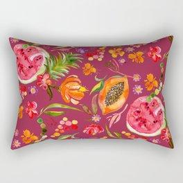 Tropical Fruit Festival in Red | Frutas Tropicales en Rojo Rectangular Pillow