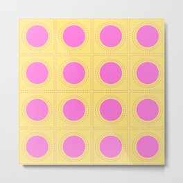 Quilt Circle Stitch Style - Light Yellow Pink Metal Print