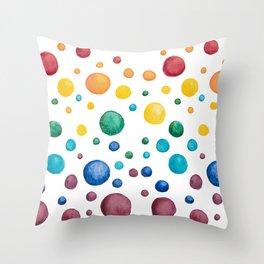 Rainbow Chakra Watercolor Circles Throw Pillow