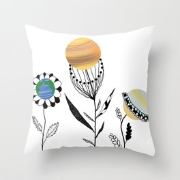 Flowers=planets Throw Pillow