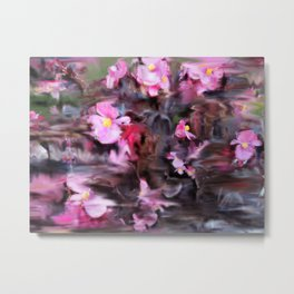 Abstract Pink Flowers Metal Print