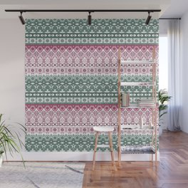 Green pink ornament Wall Mural