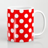 polka Mugs featuring Polka Dots (White/Red) by 10813 Apparel