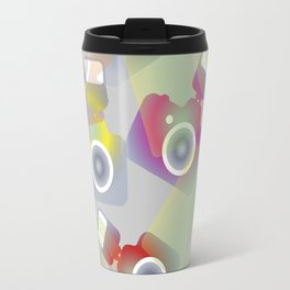 seamless pattern with cameras - background photo business Travel Mug
