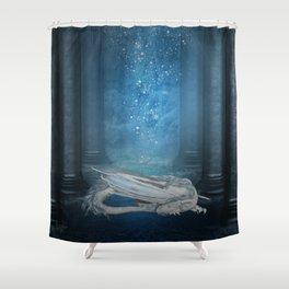 Awesome sleeping ice dragon Shower Curtain