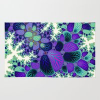 novelty Area & Throw Rugs featuring Leafy Nosegay Fractal by Moody Muse