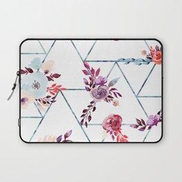 Geometric Winter Watercolor Flowers Laptop Sleeve