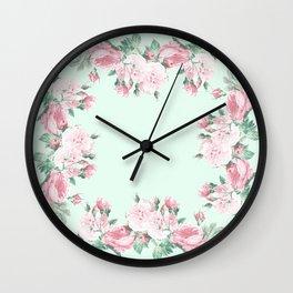 Shabby Roses Mint pink Wall Clock