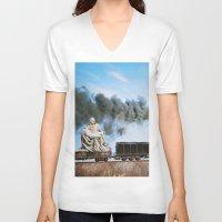 train V-neck T-shirts featuring Pietà Train by John Turck