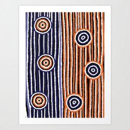 Authentic Aboriginal Art - Campsites Art Print