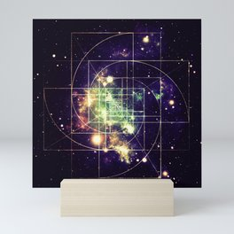 Galaxy Sacred Geometry: Golden mean Mini Art Print