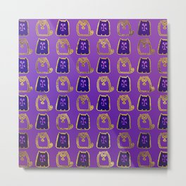 Cute whimsical Gold and purple Cat Pattern Metal Print