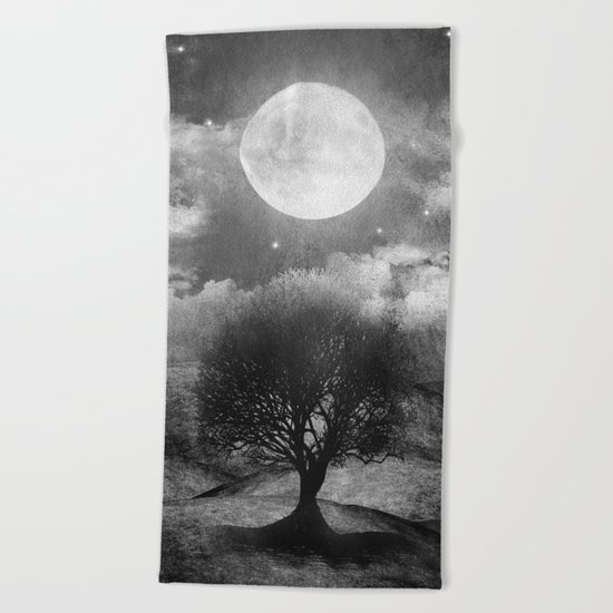Black and white - Once upon a time... The lone tree. Beach Towel