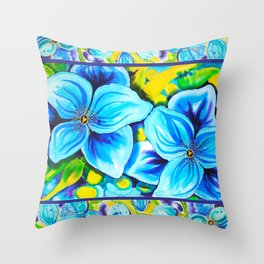 Blue Poppies 3 with Border Throw Pillow