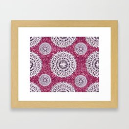 Pink Glitter and Pearl White Patterned Mandala Textile Framed Art Print
