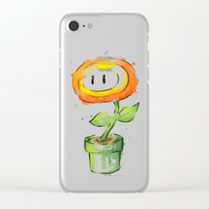 Fireflower Mario Watercolor Clear iPhone Case