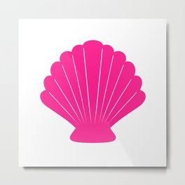 Seashell (Dark Pink & White) Metal Print